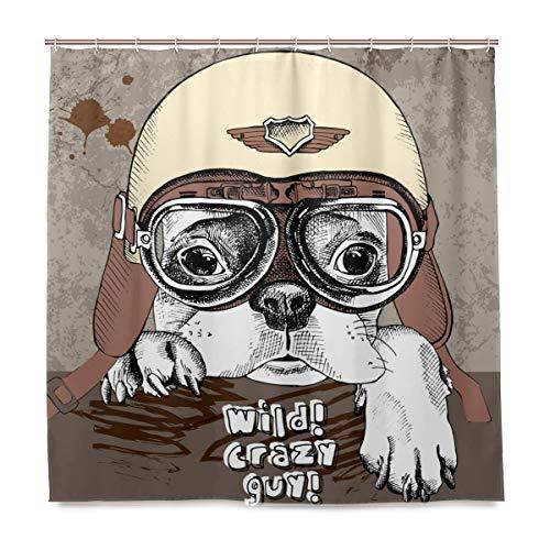 Wamika Bulldog Francese in Stile retrò Moto Casco da Bagno Tenda Doccia Liner Home Decor, Tessuto Resistente alla Muffa Impermeabile Panno Vasca da Bagno Tenda con 12Ganci 183,0cm x183,0cm