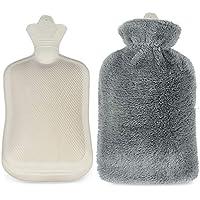 Infreecs Bolsa de agua caliente con funda, 2 L, goma natural, ideal para mantener el agua caliente, (gris)
