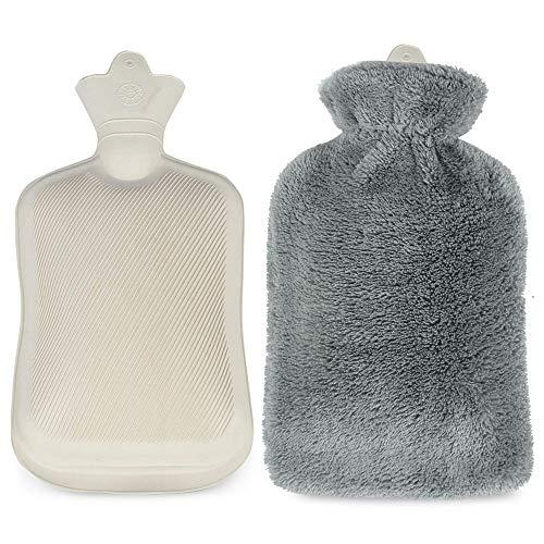 Infreecs Wärmflasche mit Flauschbezug 2 Liter - Geprüft Und Frei Von Schadstoffen - Grau -