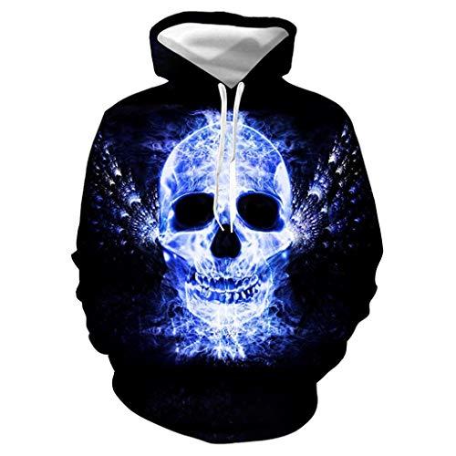 MOIKA Liebhaber 3D Druck Hoodie Kapuzenpullover Bunt Langarm Pullover Geisterflamme Schädel Gedruckte Graphic Halloween Sweatshirt (Duo Kostüm Für Freunde)