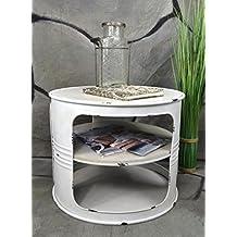 LivitatR Couchtisch Beistelltisch Weiss Metall Lfass Vintage Industrie Look LOFT Shabby LV5024