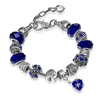 A TE Charms Bracelet Blue Crystal Heart Shape Beads for Women JWB67