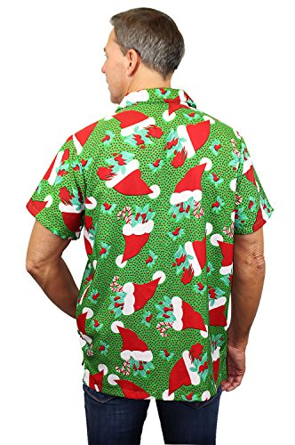 Funky Camicia Hawaiana | Uomo | XS - 6XL | Manica Corta | Tasca-Frontale | Stampa Hawaiano | Natale | Verde Verde