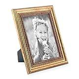 Bilderrahmen 13x18 cm Gold Barock Antik Massivholz mit Glasscheibe und Zubehör / Fotorahmen / Barock-Rahmen