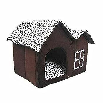 Générique Pet House Haut de Gamme Marron café Nid chaud pour chien chat lit (50 x 40 x 35 cm/Double Top)