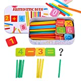 Hifot Arithmetic Rods Hölzerne Zählen Sticks Karten Spielzeug, Kinder zählen Spielzeug Mathematisches pädagogisches Spielzeug Mathe-Lernwerkzeug mit Metallbox