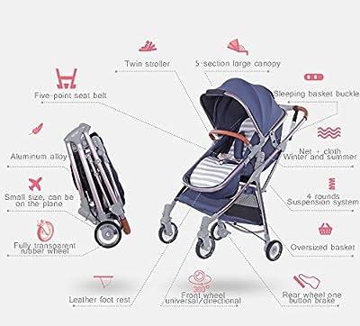 MYRCLMY Artefacto de Viaje Infantil Plegable y liviano El bebé Doble Puede Sentarse Cochecito de bebé Gemelo Desmontable,Rojo