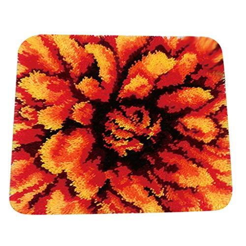 F Fityle Knüpfteppich für Kinder und Erwachsene zum Selber Knüpfen Teppich, viele Muster Auswählbar - Blume