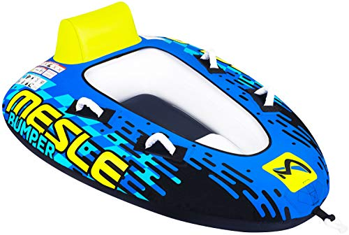 MESLE Tube Bumper, Towable für 1 bis 2 Personen, Inflatable Fun-Tube Multi-Rider Cockpit-Tube, 183 x 137 cm, blau-Lime-weiß, Kinder Erwachsene, aufblasbar ziehbar, Boot Jet-Ski Yacht