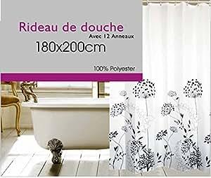 cflagrant rideau de douche en tissu lavable en machine nature zen 180 x 200 cm. Black Bedroom Furniture Sets. Home Design Ideas