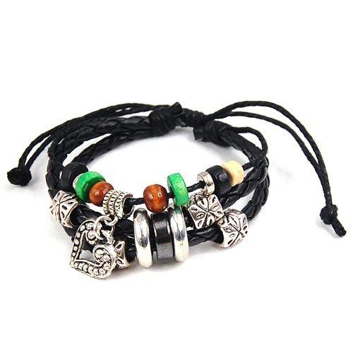 Preisvergleich Produktbild Gleader Herz Anhaenger Multi Pandora Perlen schwarzes Lederarmband