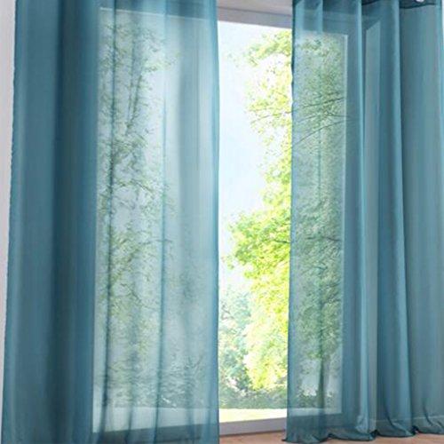 SIMPVALE 2 Stücks Voile Vorhänge zu Gürtelschlaufe Transparent Vorhänge Fenster Balkon aus Tüll Breite 140cm, Polyester, Blau, Höhe 225cm
