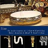 Europa estilo de China hecho a mano Lavabo artística, Lavabo en el cuarto de baño pintado a mano de cerámica Lavabo Baño diseño 1 un juego