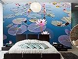 FSLUCKY Benutzerdefinierte großes Wandbild schöne Lotus Pond Wallpaper Wohnzimmer Schlafzimmer TV...