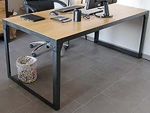 Bureau table loft design industriel 180 cm en ch ne for Table basse style loft