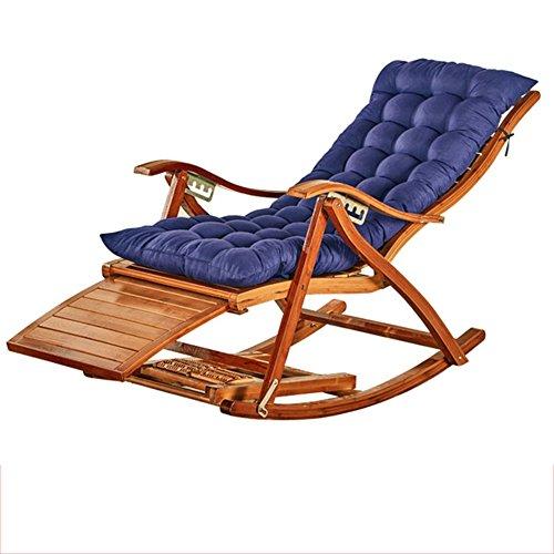 Fauteuil Inclinable En Bambou Chaise Longue Pliante En Bambou Naturel Design Ergonomique 170 ° Coussin Bleu Marine Ajustable