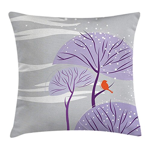 VANESSA Winter Throw Pillow Cushion Cover, Seasonal Conceptual Artwork Purple Trees Snowy Weather Cute Bird Animal, Decorative Square Accent Pillow Case Dust Purple Orange 20x20inches (Weather Personal Cover)