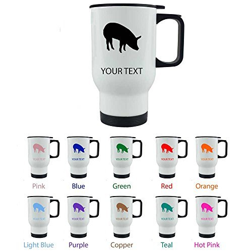Personalized Custom Pig 14 oz White Stainless Steel Sublimation Coffee Travel Mug for Holiday Gift or Present! Contact Seller for Custom Text/Color or Leave a Gift Message at Checkout! by CustomGiftsNow