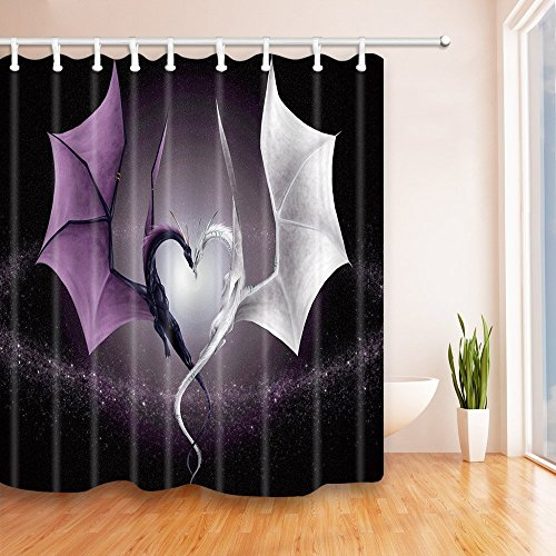 Dragon Decor Vorhänge Dusche von gohebe Schutzhülle/Hartschale Art Fire Dragon und Sea Dragon Cool Schutzhülle/Hartschale Asiatische Kunst Bad Vorhänge 180,3x 180,3cm violett weiß