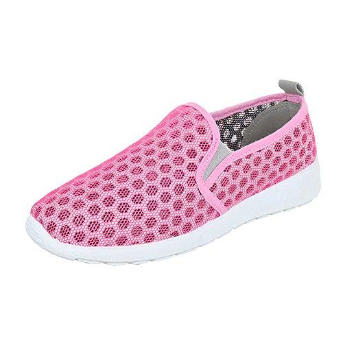 Slipper Damenschuhe Low-Top Stretch Ital-Design Halbschuhe Pink Grau
