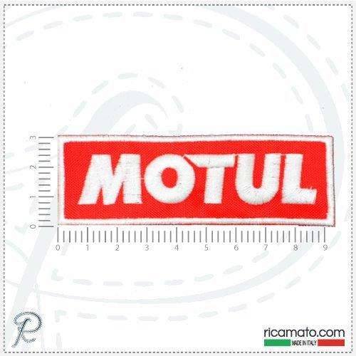 toppa-patch-ricamata-logo-motul-rossa-motori-motors-sponsor-race-gare-embroidery-da-cucire-cm-95x3