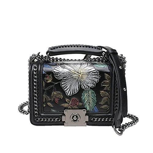 SHRJJ 2018 MINI Schnalle Handtaschen Leder Bemalt Kette Tasche Mode Schulter Umhängetasche Baby Wickeltasche Mama Tasche,Black-20 * 9 * 13cm