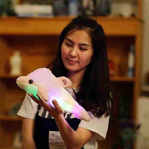 Xshuai 32cm Netter Entwurf schlafend Delphin Glühen LED Kissen Licht weiches Kissen Geschenk Haus Plüsch Kinder (Blau / Rosa / Weiß / Gelb) (32cm, Rosa)