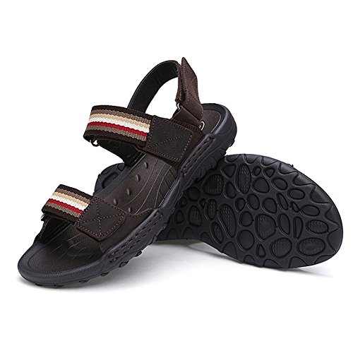 Moollyfox Respirant Sandales Homme/Bout Ouvert Chaussures Marron Foncé