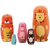 Aimeio 5 PCs Handmade Animal Nesting Dolls Set Authentic Russian Wooden Matryoshka Dolls Cute Cartoon Animals Pattern Nesting Doll Toy Gift
