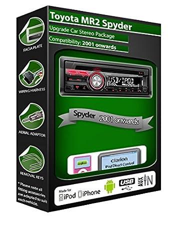 Spyder Toyota MR2 de lecteur CD et stéréo de voiture radio Clarion jeu USB pour iPod, iPhone, Android