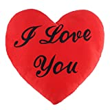 Cojín Forma de Corazón - Almohada con Mensaje de 'I Love You' Para Día de San Valentín - Regalo peluche de Amor para Ocasiones Especiales Románticas - Parejas y Enamorados - 34 x 28 x 6 cm