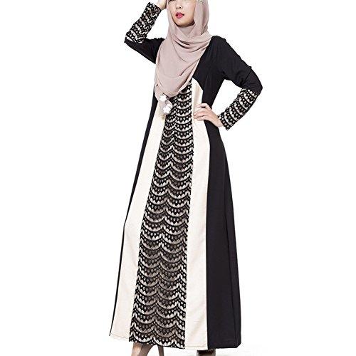Highdas Frauen in der arabischen / Mittlerer Osten Nation Gewand ausgestattet Spitzen Nähen Kleid muslimischen Mode dubai Spitze Kaftan Schwarz