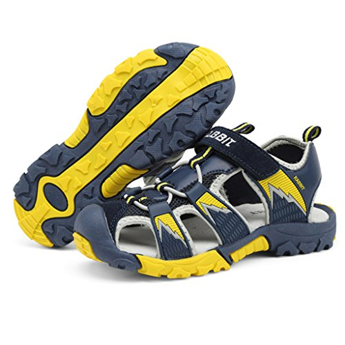 Sommer Jungen Geschlossene Sandalen Outdoor Sport Athletic Hiking Trekkingsandalen Flach Breathable Strand Römersandalen Klettverschluss Kinder Schuhe Blau