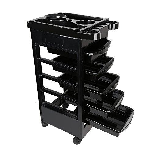 Schwarze Fünf Schubladen (Anself Friseurwagen auf Rollen Salon Wagen mit 5 Schubladen Schwarz)
