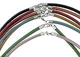 Creative-Beads Lederkette, Ledercollier, Halsreif, 3mm metallic-bordeaux, Sterlingsilber Verschluss ca. 45cm