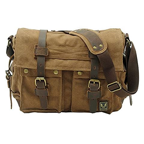 VRIKOO Vintage Military Canvas Crossbody Sports Casual Shoulder Bags Satchel School Messenger Bag (Shallow (Brown Leather Messenger Bag)
