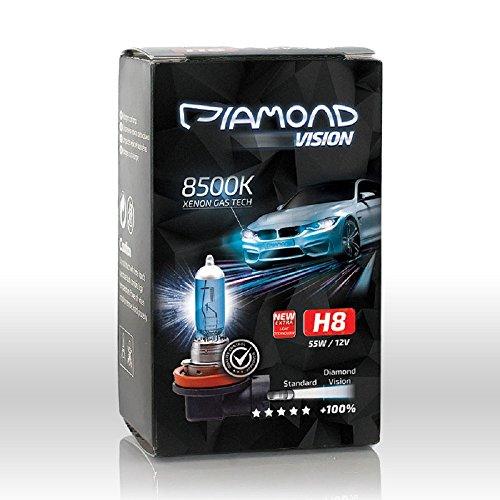 2x H8 12V 55W Diamond Vision Xenon Look Effekt Halogen Lampen Birnen Licht Optik Super White 8500k Abblendlicht Nebellicht Nebelscheinwerfer Kaltweiss Weißes Licht Weiß Duobox PGJ19-1 (H7 Led-nebelscheinwerfer)