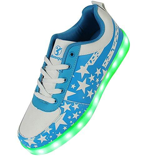Shinmax Blue Star Pattern LED Schuhe 7 Farben USB-Lade Schuhe Leuchtschuhe Sneakers für Männer und Frauen Zum Valentinstag Weihnachten Halloween mit CE-Zertifikat
