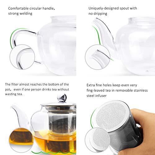 AckMond 600ml Teekanne Glas mit Herausnehmbarem Edelstahlsieb in Apple Form - 5