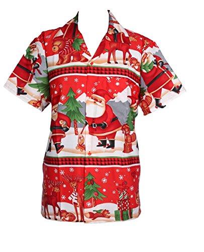 dcc10af0 KIKLO Mens Christmas Santa Xmas Hawaiian Shirt Hawaii Gift HIM Party  Holiday S to XXL (