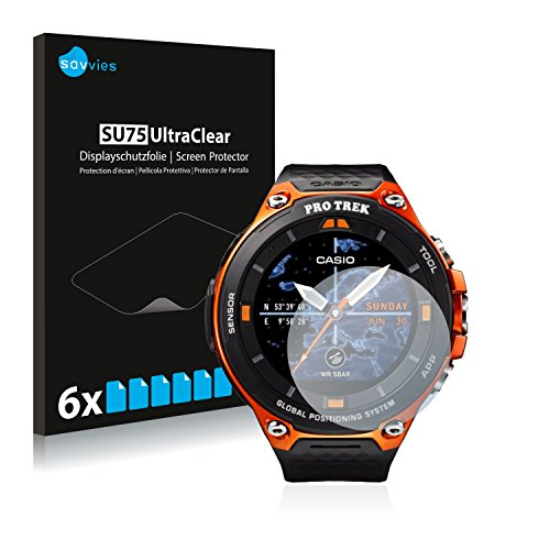 savvies 6-Pezzi Pellicola Protettiva Compatibile con Casio WSD-F20 Protezione Schermo Trasparente