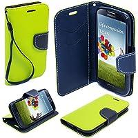 Moozy zweifarbige Fancy Tagebuch Buch Flip Handy Tasche mit Stand / Handschlaufe / Silikon Handyhalter für Samsung i9500 Galaxy S4 Hellgrün / Blau
