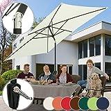 Sonnenschirm 3 x 2 m I Rechteckig, Farbwahl, Quadratisch, mit Handkurbel, Knickbar, UV-Schutz I Gartenschirm, Marktschirm, Balkonschirm, Terassenschirm