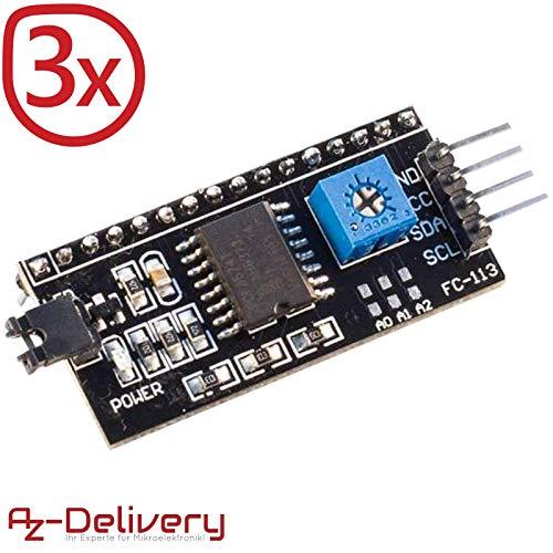AZDelivery ⭐⭐⭐⭐⭐ 3 x I2C IIC Adapter serielle Schnittstelle für LCD Display 1602 und 2004 mit gratis eBook!