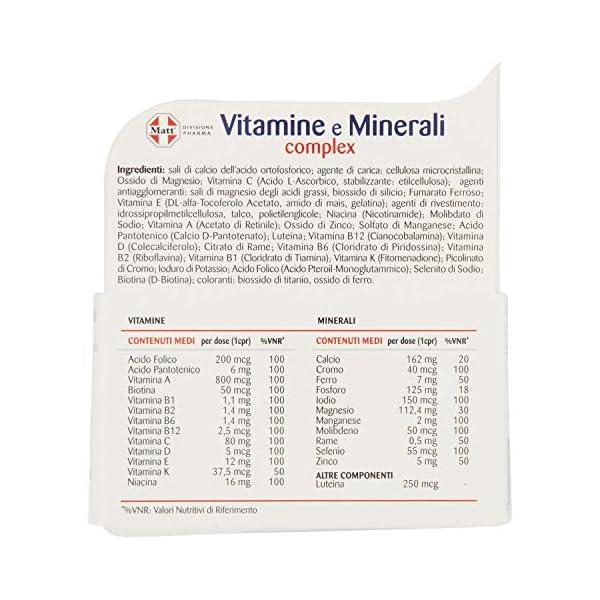 Matt Divisione Pharma Vitamine e Minerali Complex, Integratore Multivitaminico e Multiminerale - 60 Compresse, 79.8 g 5 spesavip