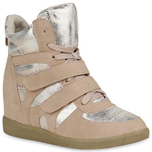 Modische Sneaker Wedges Metallic Schuh Glitzer Sneakers Keilabsatz 147834 Creme Glitzer 38 Flandell