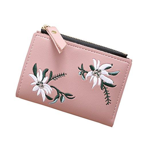 Yueling Frauen Brieftasche Leder Reißverschluss Blumen Gestickte Damenmode Geldbörsen Mini Tasche Frauen PU Leder Geldbörse Kartenhalter Brieftaschen Pink - Leder Gestickte Brieftasche