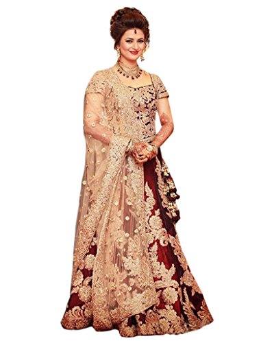 1 Stop Fashion Women\'s Satin Banglory Silk Lehenga Choli (OS60159_Maroon)