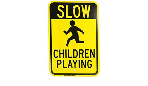 Slow Children Playing 18 x 12 Aluminum Sign Metal Signs Vintage Road Signs Tin Plates Signs Decorative Plaque Black on Yellow