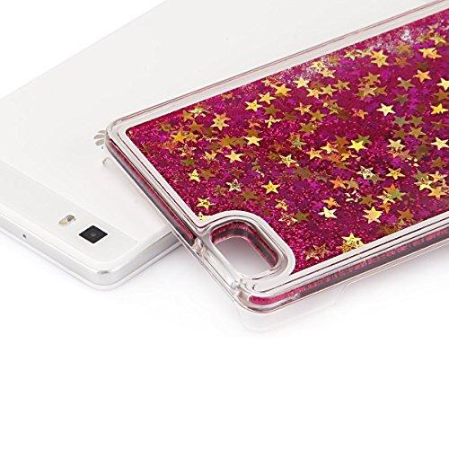 Huawei P8 Lite Custodia PC Back Cover in Plastica Trasparente 3D Glitter Scintillanti Stelle Quick and Mode Liquido Rigido Bling Della Stella Caso Transparent Sottile Anti Scivolo Case Protettiva Slim Rose rosse
